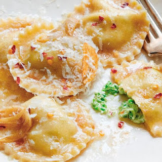 Sweet Pea And Ricotta Ravioli
