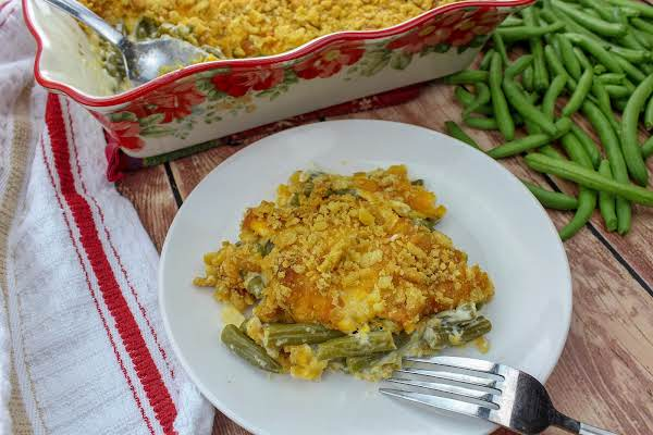 A Serving Of Beyond Yummy Green Bean Casserole On A Plate.