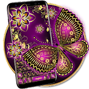 Purple Gold Butterfly Keyboard