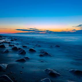 Rozewie, Poland by Paweł Mielko - Landscapes Beaches ( blue sky, blue, polska, sunset, sea, seascape, rozewie, landscape, rocks, baltic, poland,  )