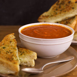 Spicy Tomato Soup and Garlic Bread Grilled Cheese Sandwiches