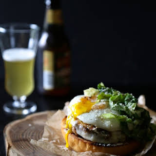 Open-Faced Parmesan Chicken Burger with Balsamic Caesar Dressing.