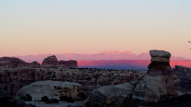 Pink light on the La Sals viewed from camp