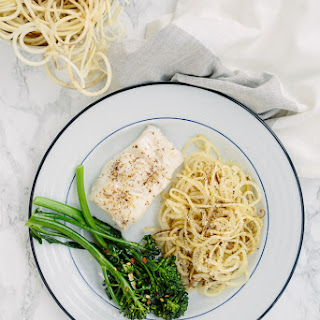 Roasted Lemon Cod with Sweet Potato Noodles and Garlic Broccolini Recipe