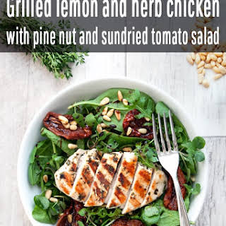 Grilled Lemon Chicken With Pine Nut And Sundried Tomato Salad.