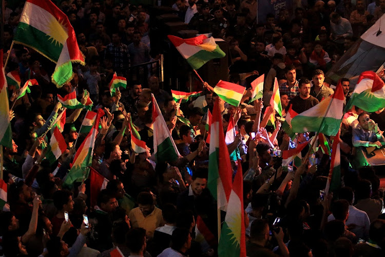 Kurds celebrate to show their support for the independence referendum in Duhok, Iraq. Picture: REUTERS/ARI JALAL