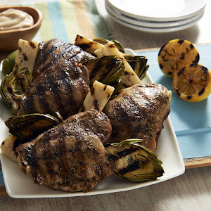 Tim Love's Balsamic Grilled Chicken Thighs with Grilled Artichokes and Hearts of Palm