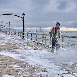Blasting the Snow Away by Garry Dosa - People Street & Candids ( water, clouds, winter, cold, outdoors, snow, pier, working )