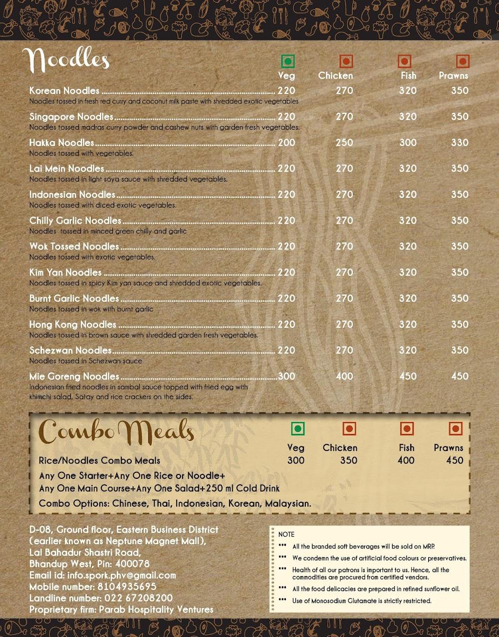 Spork menu 7