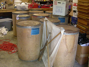 "Photo: Rearing barrels (with beat sheet and Karl Stephan's ""beat bat"" in foreground)"