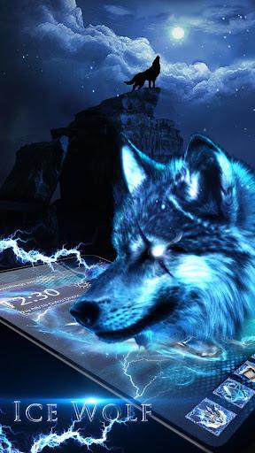 3D blue fire Ice wolf launcher theme 1.2.4 screenshots 4