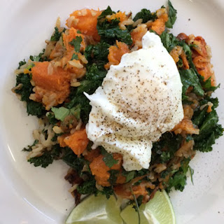 Brown Rice, Kale and Roasted Sweet Potato Sauté with Poached Eggs.