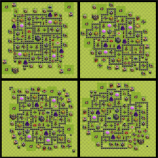 Town Hall 9 Trophy Base Layout - náhled