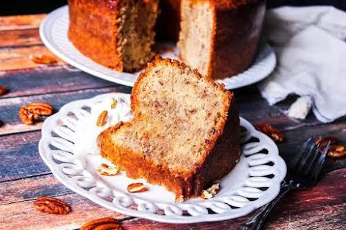 "Butter Pecan Pound Cake""This is a decadent pound cake recipe with a..."