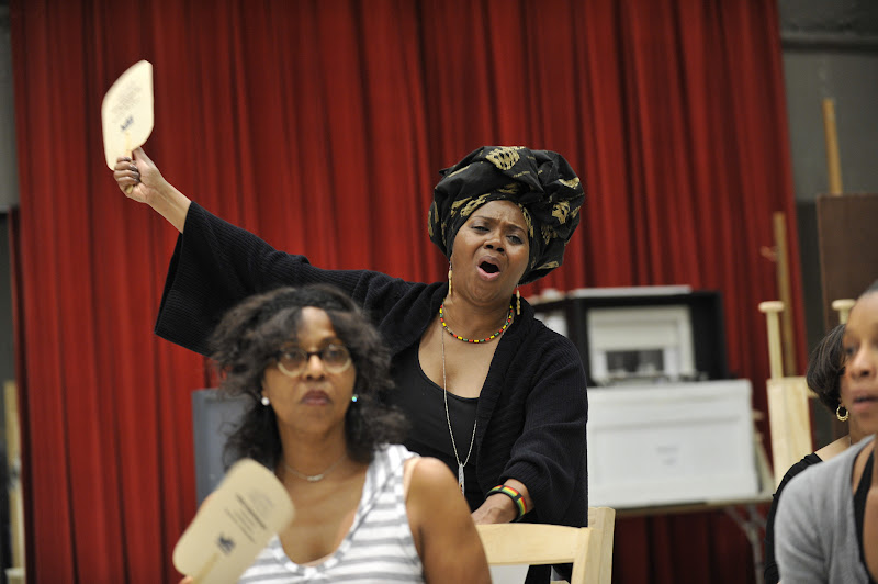 Photo: Ensemble member Laura Walls rehearses Regina Taylor's 10th anniversary production of Crowns at Goodman Theatre (June 30 – August 5).