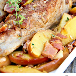 One-Pan Pork Tenderloin with Bacon and Apples.