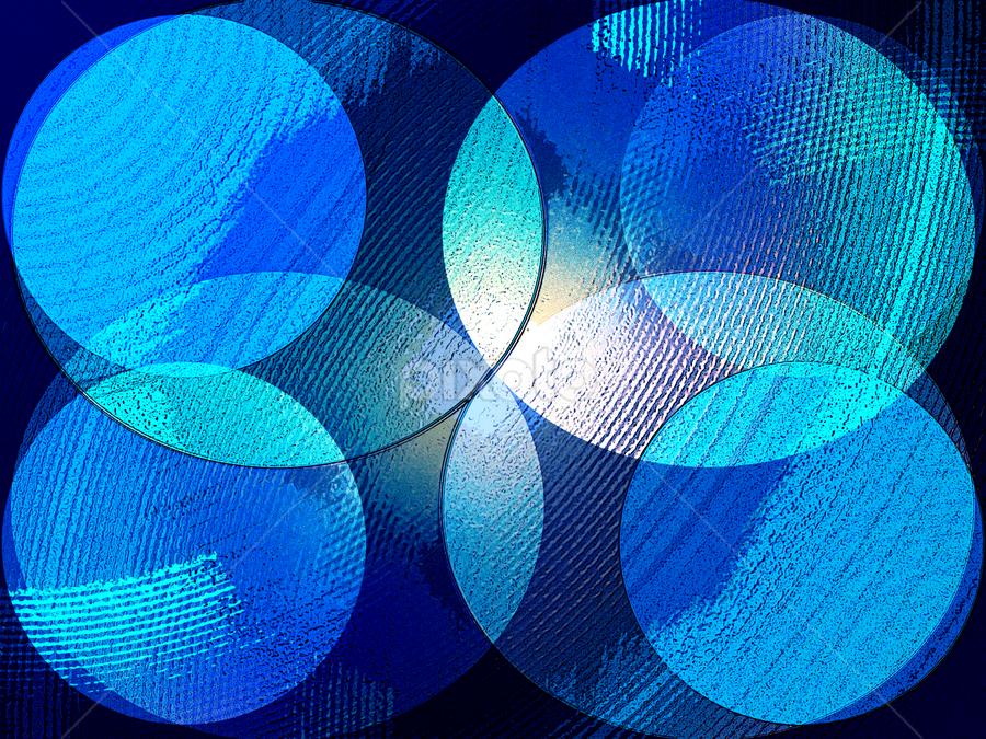 Blue Circles by Edward Gold - Digital Art Abstract ( blue circles, textured circles, digital photography, black background, abstract, digital art )