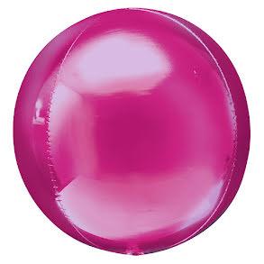 Folieballong, rund rosa