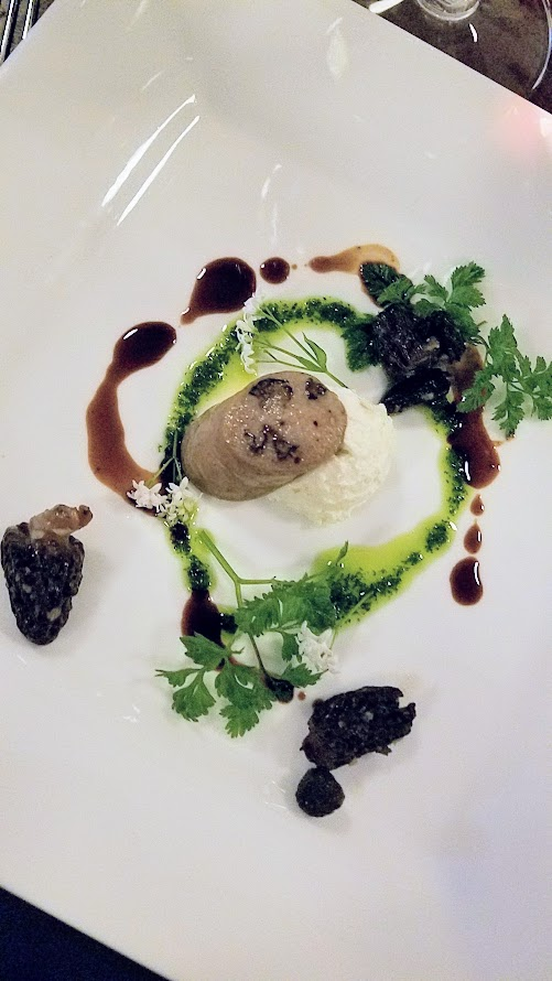 Chefs Week PDX 2017 Heritage Dinner at Chesa on May 7, Greg Higgins(Higgins) created a dish of Morel Boudin Blanc, Fresh Black Sheep Creamery Cheese Chervil Oil