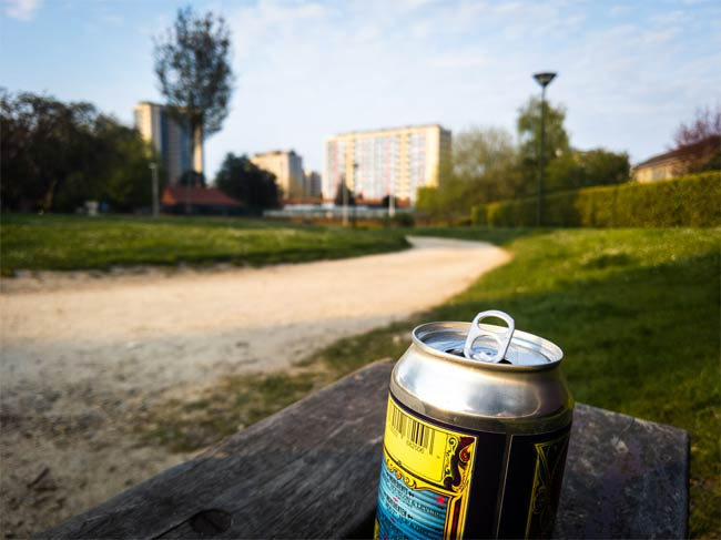 Can of beer in a park