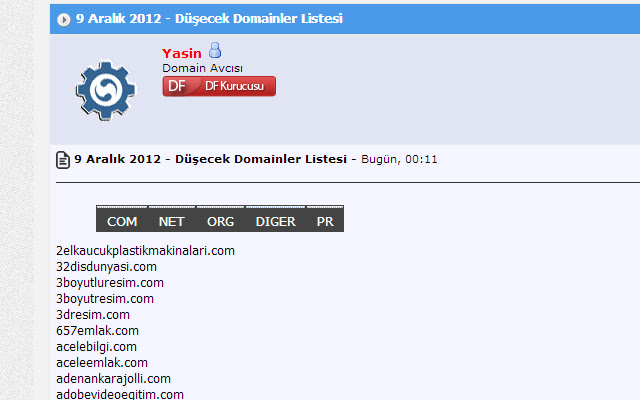 Domain Forumlari