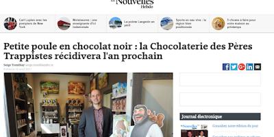 Petite poule en chocolat noir : la Chocolaterie des Pères Trappistes récidivera l'an prochain