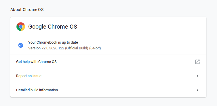 Your Chromebook is up to date.