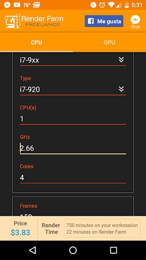 Cost calculator for Render Farm  screenshots 1