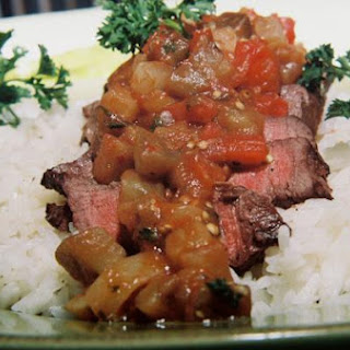 Beef Fillet With Spicy Eggplant Tomato Salsa
