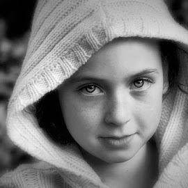 Morgan Leigh by Sandy Considine - Babies & Children Child Portraits ( black and white, young girl, hooded sweater )