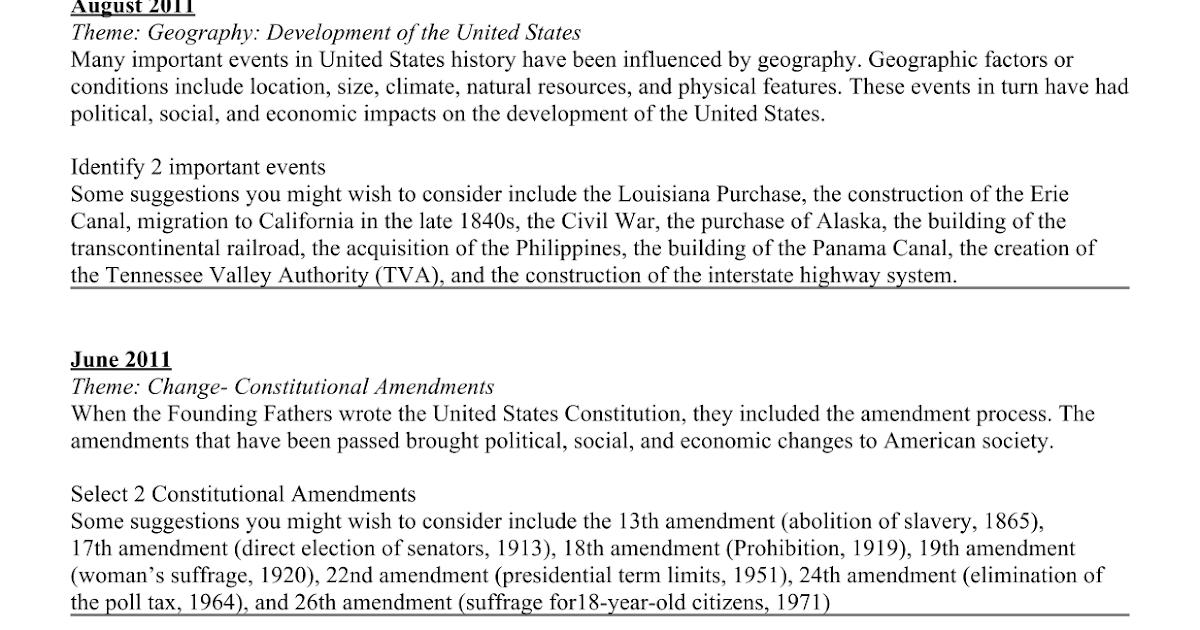 Prep- Regents U.S. Thematic