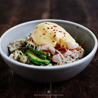 Savoury Oatmeal With Poached Egg And A Hollandaise Sauce.