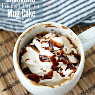 Single Serving Chocolate Peanut Butter Mug Cake.