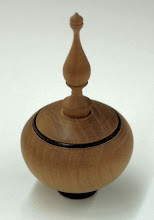 """Photo: Clif Poodry - maple and walnut lidded box with finial -  ~3"""" x 1.5"""""""