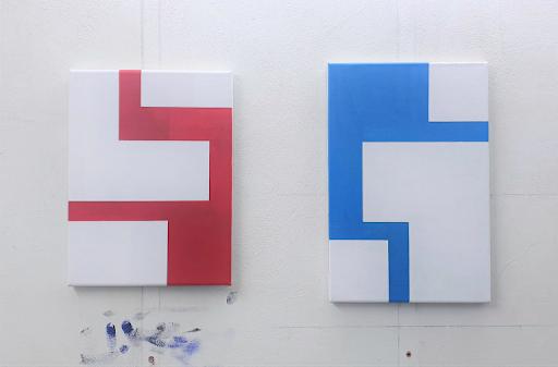 Walter van Peijpe,  zonder titel, acryl op canvas/doek, 40 x 30 en 45 x 30 cm, 2020