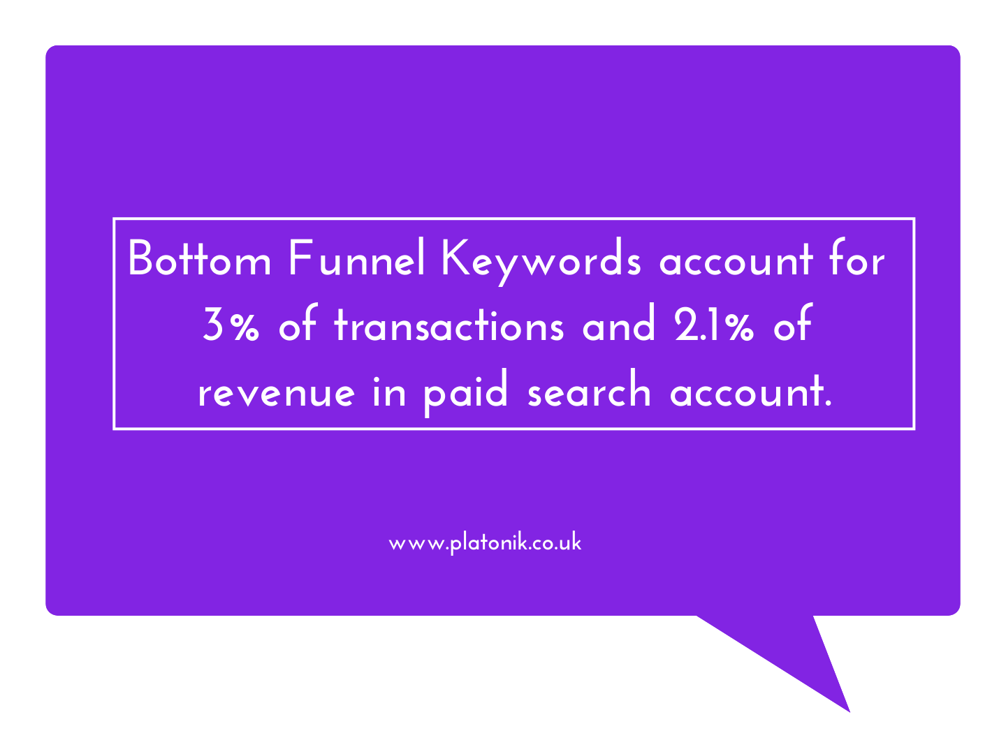 lower funnel keywords account for 3% of transactions and 2.1% of revenue in a paid search account.