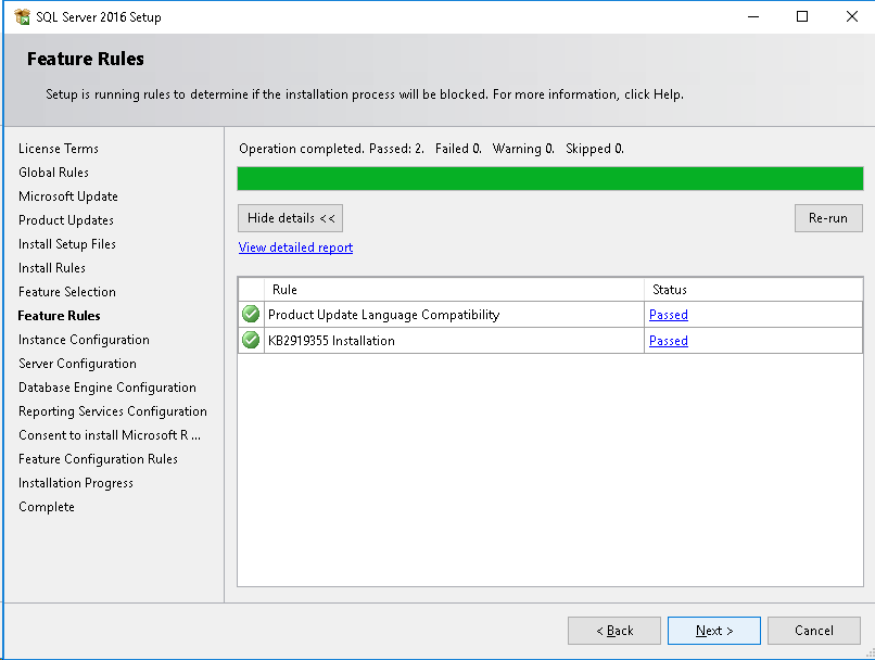 SQL Server Feature Rules