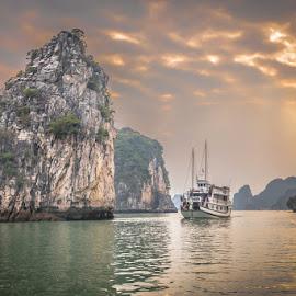 Navigating Ha Long by David Long - Transportation Boats