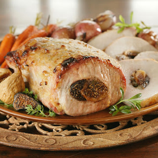 Fig-Stuffed Pork Loin with Roasted Vegetables and Herbes De Provence Recipe