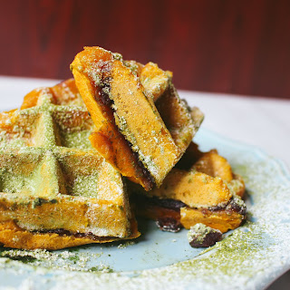 Red Bean Stuffed Pumpkin Mochi Waffles