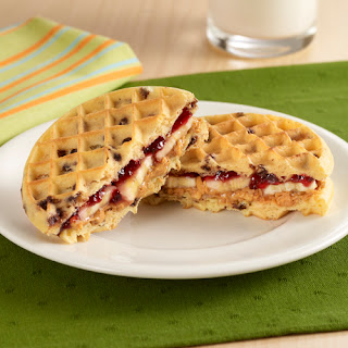 Peanut Butter and Jelly Waffle Sandwiches.