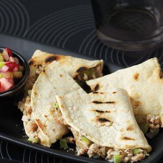 Rosemary-Scented Turkey Quesadillas with Cranberry Salsa