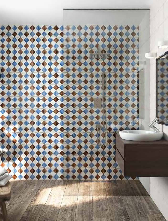 Square tile bathroom wall with a diagonal blue and brown square tile pattern