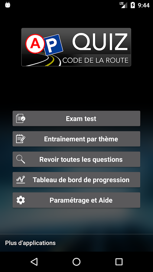 quiz code de la route 2017 gratuit android apps on google play. Black Bedroom Furniture Sets. Home Design Ideas