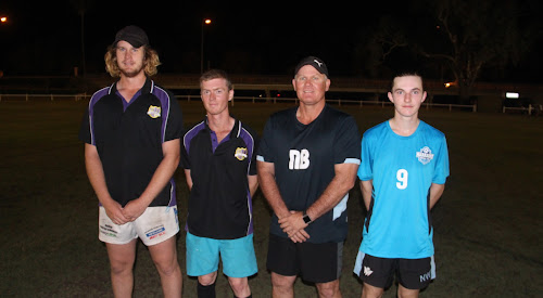 Crossroads Eleven FC key player Brady Jenkins and captain-coach Josh Boyd, and Narrabri FC coach Neil Brayshaw and key player Colby Williams.