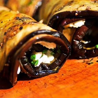 Eggplant and Goat Cheese Spirals.