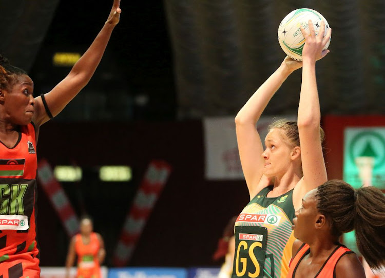 Ine-Mari Venter of South Africa in action against Malawi during the Spar Netball Challenge 1st test match between South Africa and Malawi at the Superbowl on November 26 2020 in Sun City, South Africa.