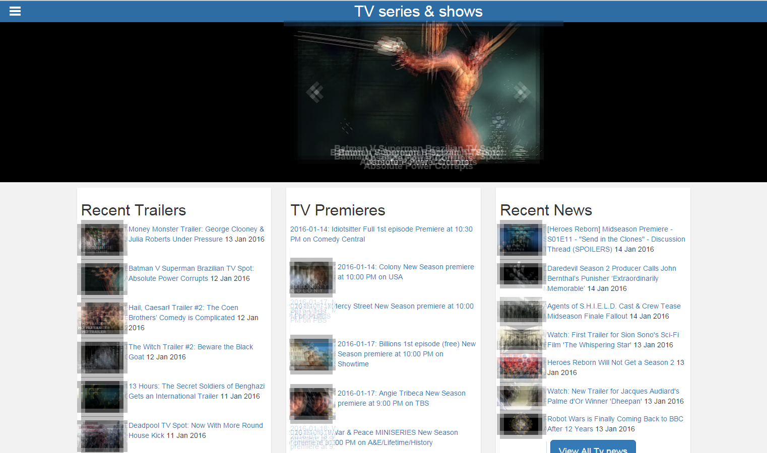 TV series and shows- screenshot
