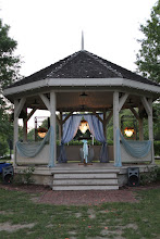 Photo: Gazebo ready for wedding! Old Shawnee Towne. Chandeliers for rent!