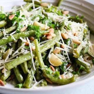Roasted Green Beans with Lemon, Pine Nuts and Parmigiano.